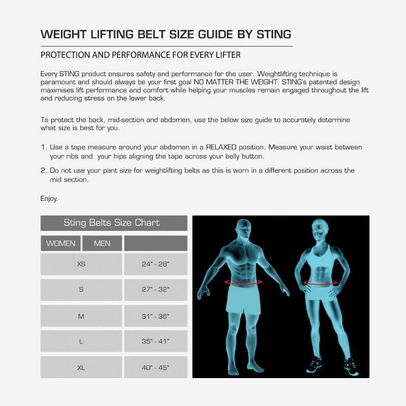 Weight Lifting Belts Size Guide by Sting Sports Online - Gym Ready - Australia